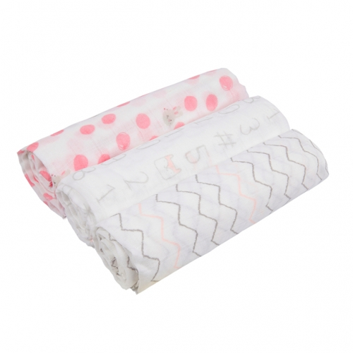 Baby 3 Pack Newborn Swaddle Muslin Blankets 28''x 28'', Absorbent Muslin Washable Diapers, 100% Cotton Muslin Baby Burp Cloth