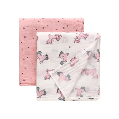 2 Pack Swaddle Blankets, Muslin Cotton Receiving Blankets,Swaddling Wrap 47''x 47'',Stroller Pegs,Baby Bath Konjac Sponge Gift Set