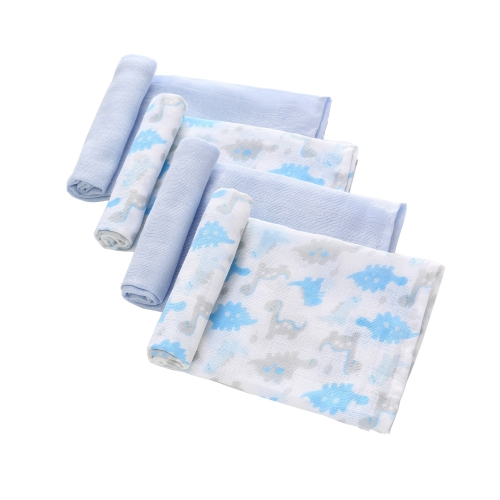 Newborn Swaddle,4 Pack Muslin Blankets,Absorbent Muslin Washable Diapers,100% Cotton Muslin Baby Burp Cloth 28''x 28'
