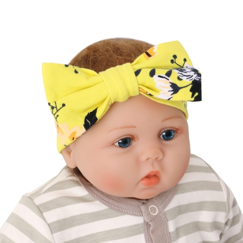 Soft custom flower print elastic infant baby girl headband with bow sets