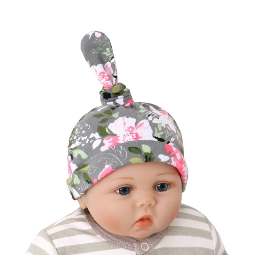 Design custom flower print  100% organic cotton beanie hat cap for new born baby