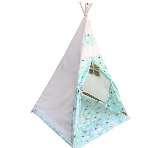 Portable Cotton Canvas Teepee Indina Play Tent Playhouse with White One Window