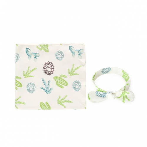 100% Cotton Swaddle Blankets and Headband Set,Receiving Blankets and Fancy Hairband for Infant, 90x90cm