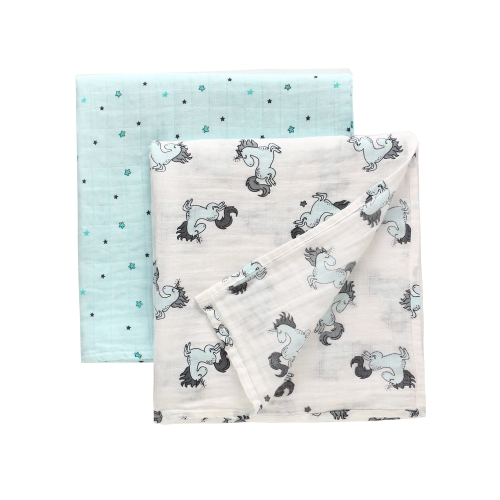 100% Cotton Muslin Blankets 2 Pack,  Swaddle Wrap Blankets,47''x 47'' with Stroller Pegs,Bath Konjac Sponge Gift Set