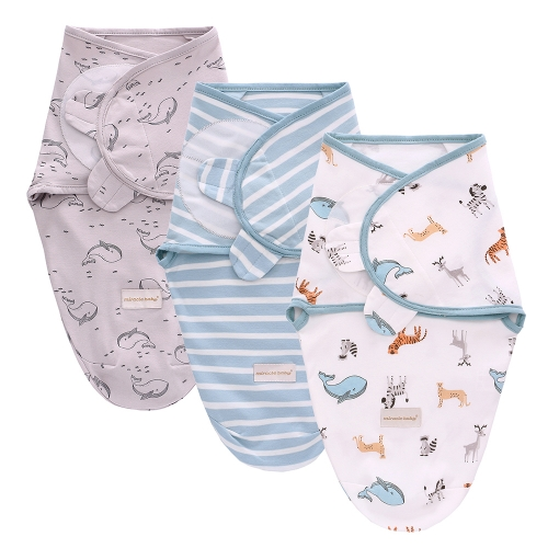 Miracle Baby Swaddle Wrap 3 Pack 100% Cotton Swaddle Blanket Unisex Universal Fit Adjustable Comfortable Baby Swaddle Set